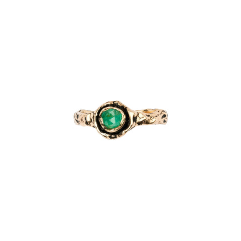 Narrow Emerald 14K Gold Faceted Stone Ring