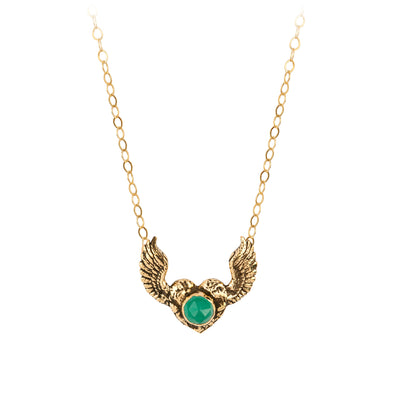 Pyrrha Emerald 14K Gold Heart With Wings Faceted Stone Necklace