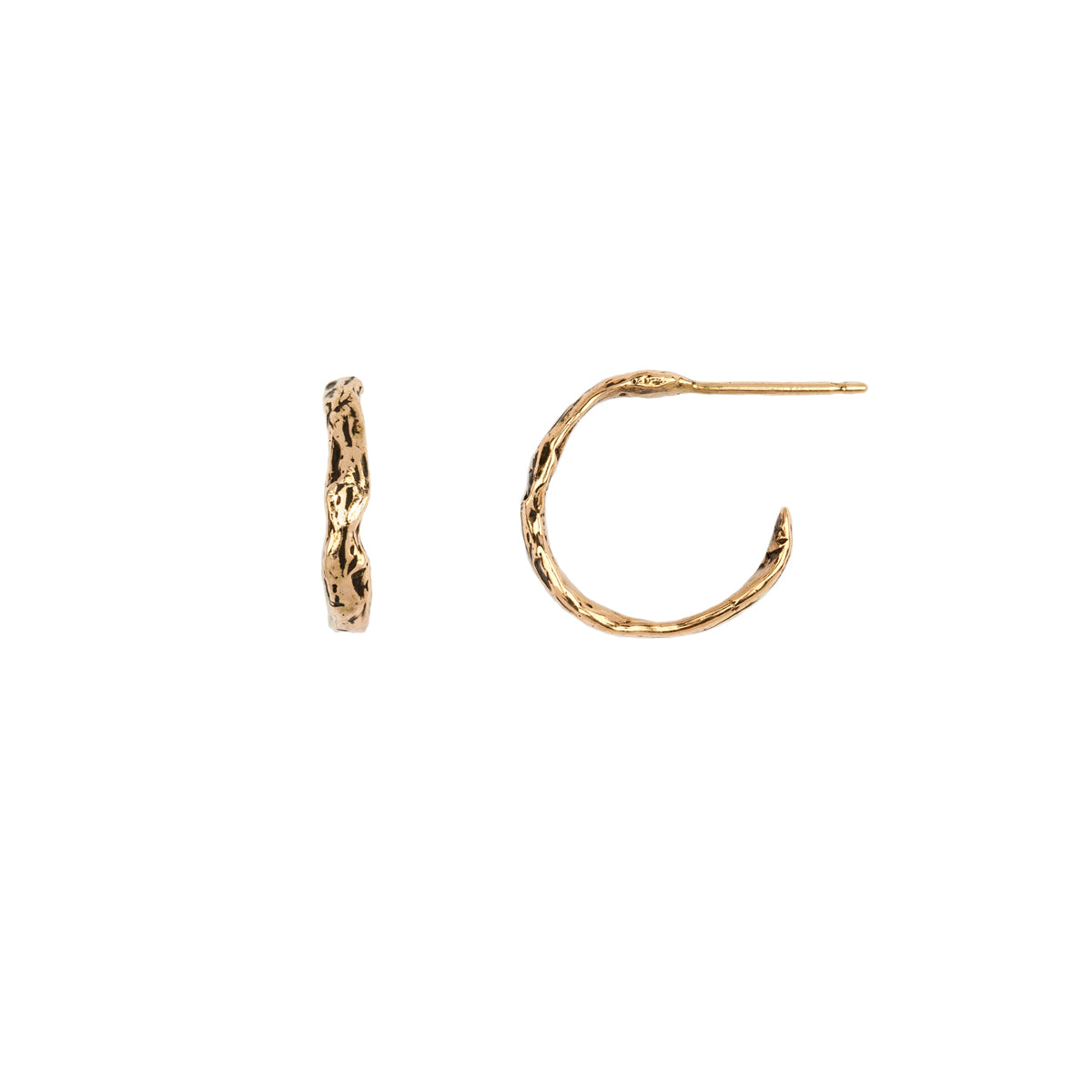 Extra Small 14K Gold Texture Hoops - pyrrha - 1