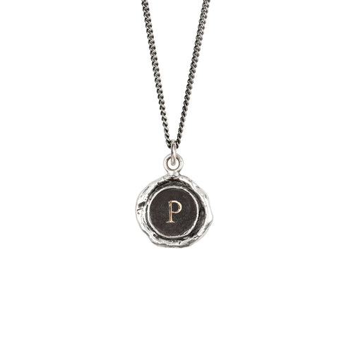 Initial P 14k gold on silver - pyrrha - 1