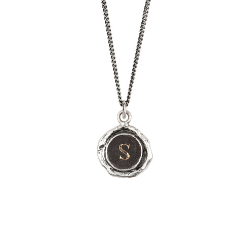 Initial S 14k gold on silver - pyrrha - 1