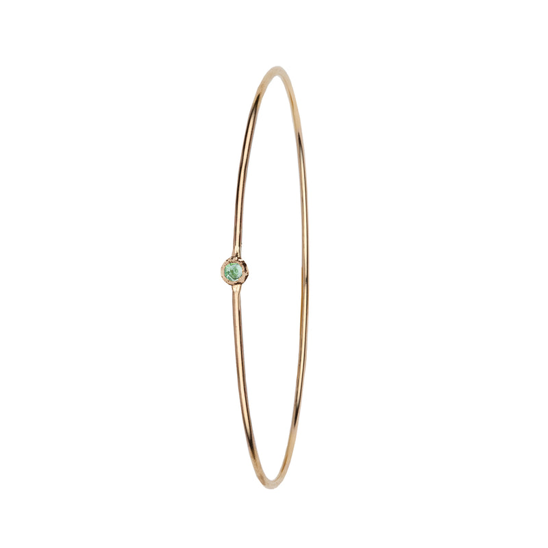 Green Montana Sapphire Stone Set 14K Gold Polished Bangle