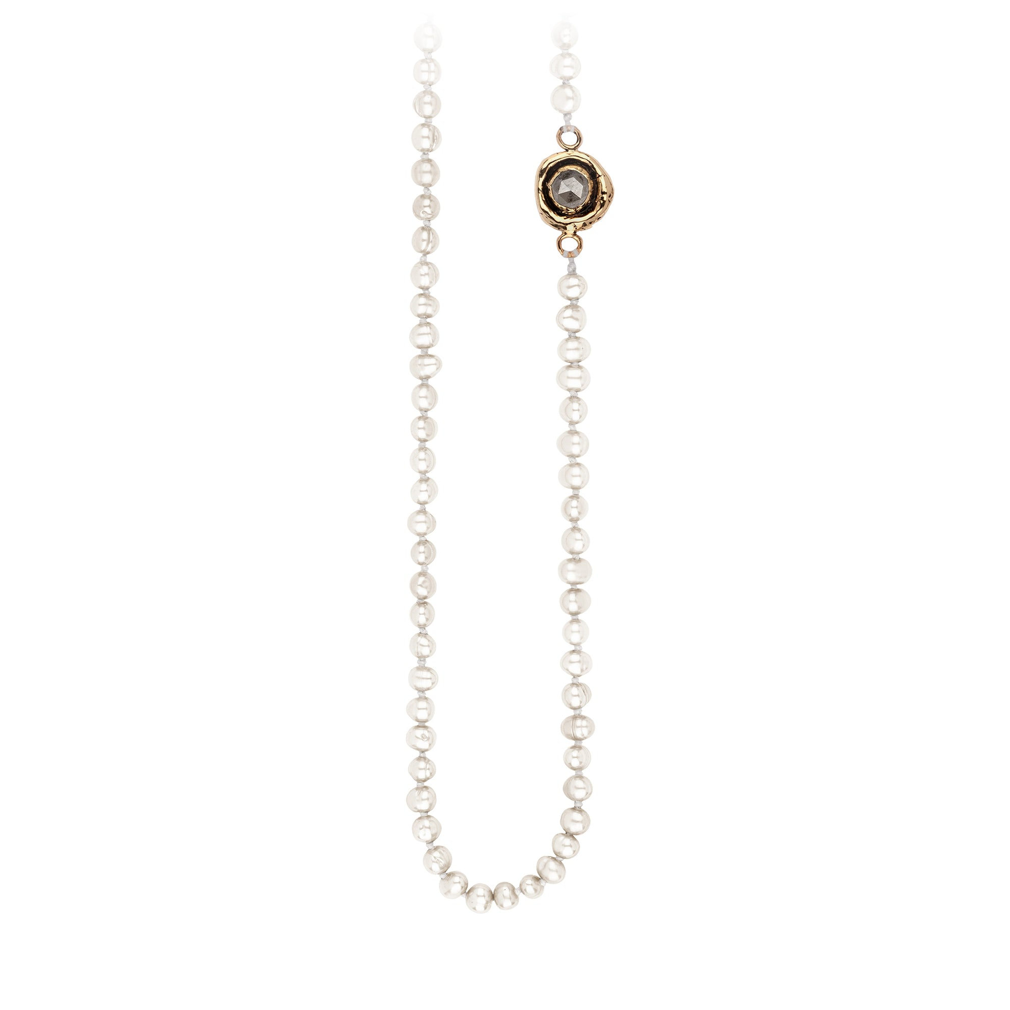 Pyrrha Grey Diamond Faceted Stone Ivory Pearl Necklace