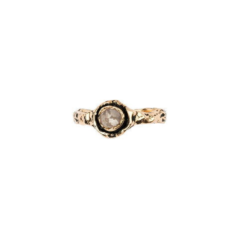 Narrow Grey Rustic Diamond 14K Gold Faceted Stone Ring