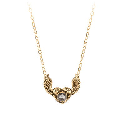 Pyrrha Grey Rustic Diamond 14K Gold Heart With Wings Faceted Stone Necklace