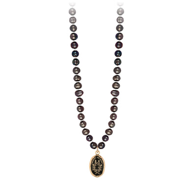 Pyrrha 14K Gold Integrity Peacock Black Freshwater Pearl Talisman Necklace