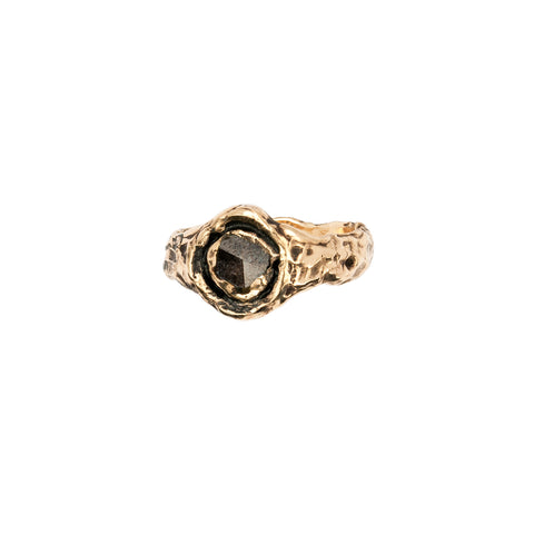 Wide Brown Rustic Diamond 14K Gold Faceted Stone Ring