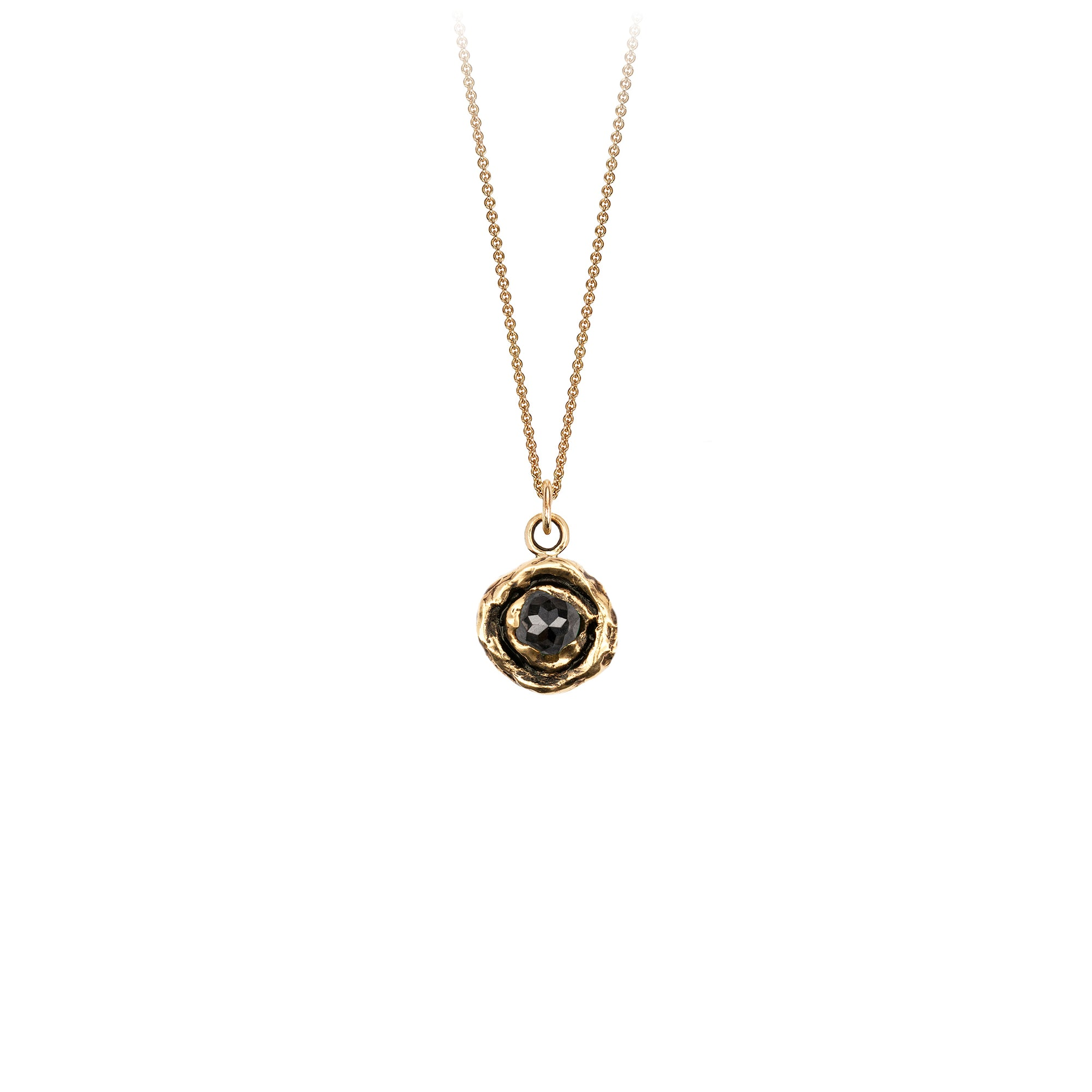 Pyrrha Large Charcoal Diamond 14K Gold Faceted Stone Necklace