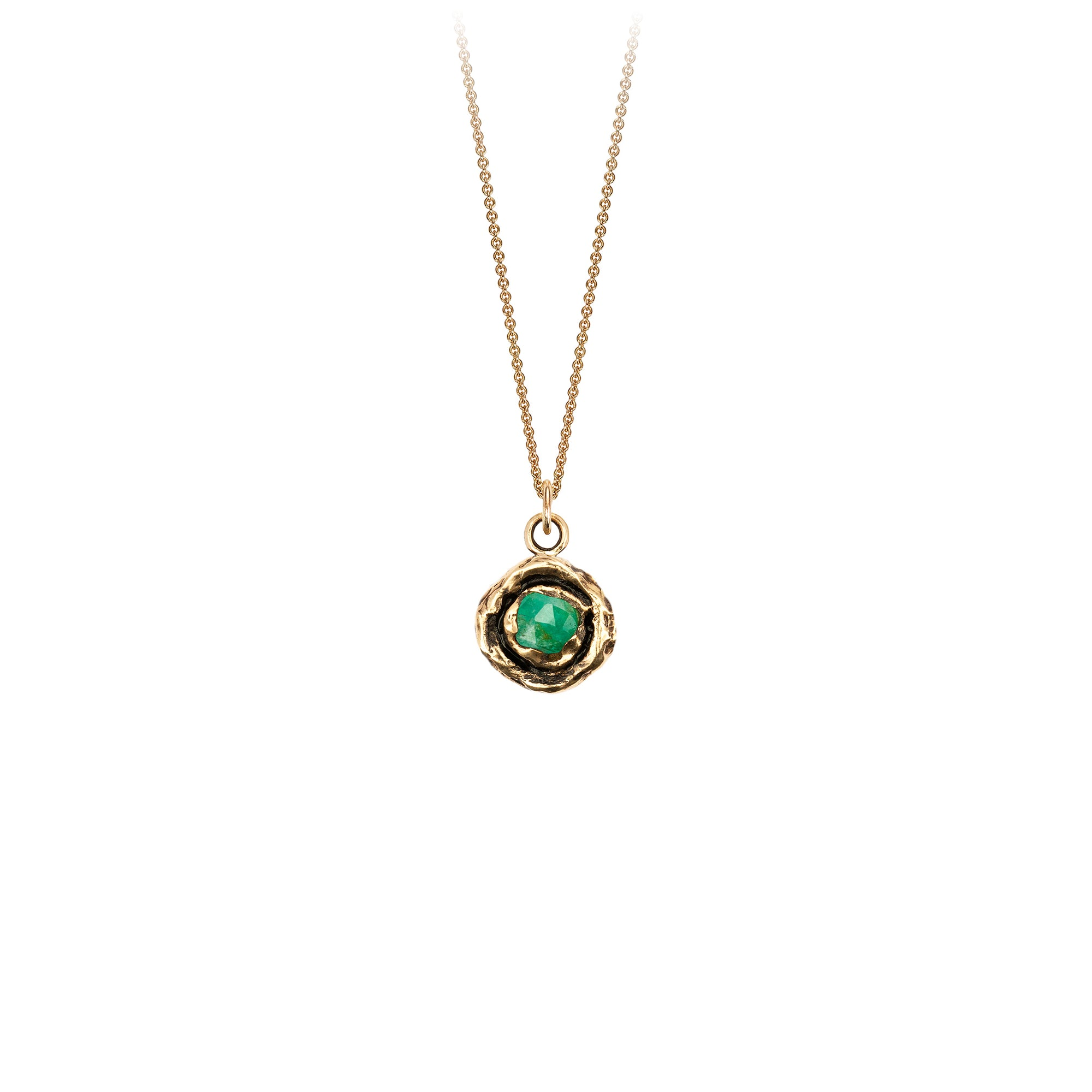 Pyrrha Large Emerald 14K Gold Faceted Stone Necklace