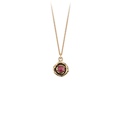 Pyrrha Large Ruby Diamond 14K Gold Faceted Stone Necklace