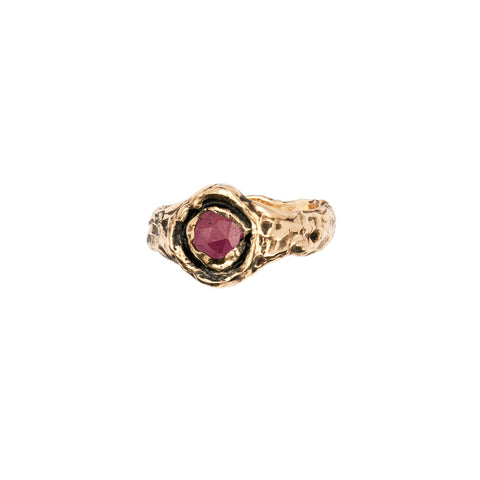 Wide Ruby 14K Gold Faceted Stone Ring