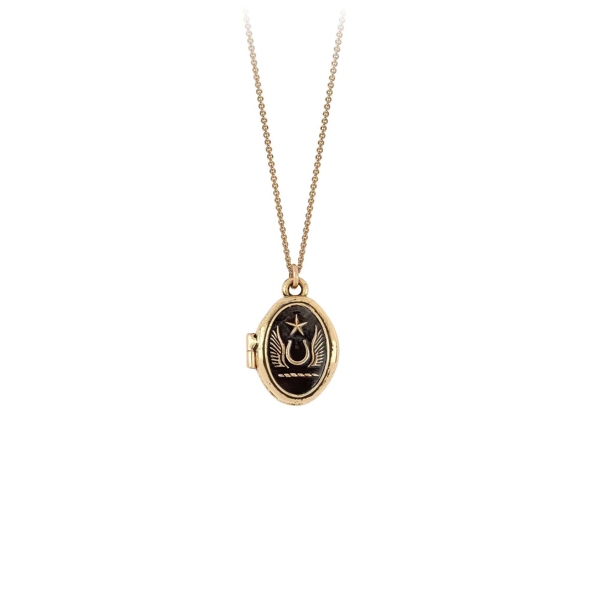 Pyrrha 14K Gold Luck and Protection Locket Necklace