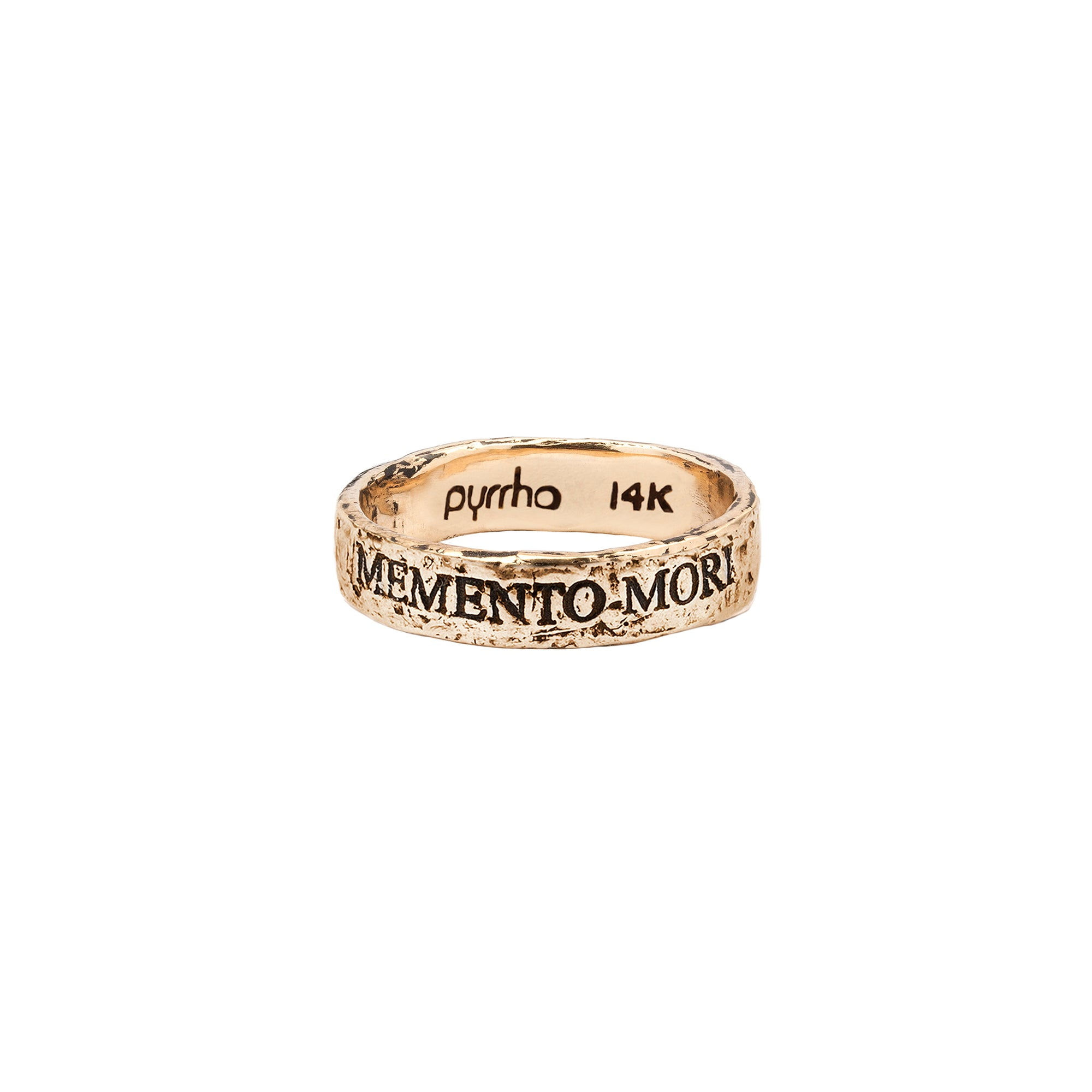 Pyrrha 14k memento mori latin motto band ring