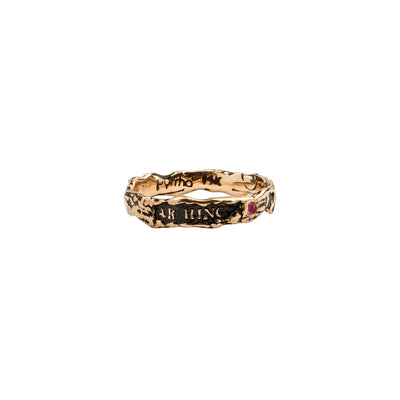 Ab Hinc Narrow 14K Gold Stone Set Textured Band Ring