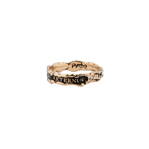 Amor Aeternus Narrow 14K Gold Stone Set Textured Band Ring