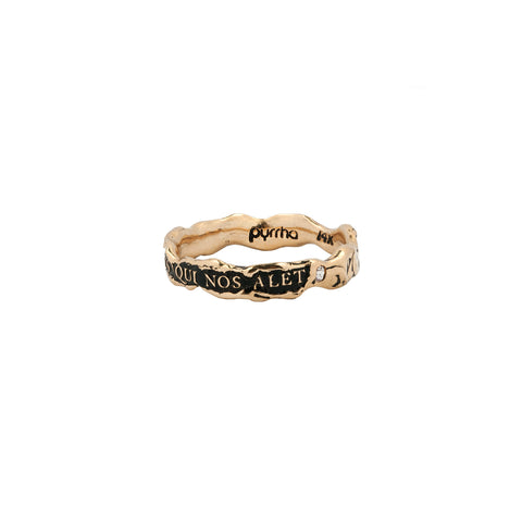 Amor Est Spiritus Qui Nos Alet Narrow 14K Gold Stone Set Textured Band Ring