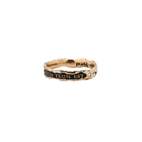 Cor Meum Tuum Est Narrow 14K Gold Stone Set Textured Band Ring