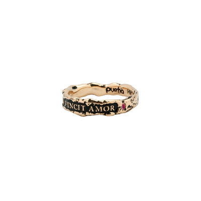 Omnia Vincit Amor Narrow 14K Gold Stone Set Textured Band Ring