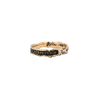 Una In Perpetuum Narrow 14K Gold Stone Set Textured Band Ring