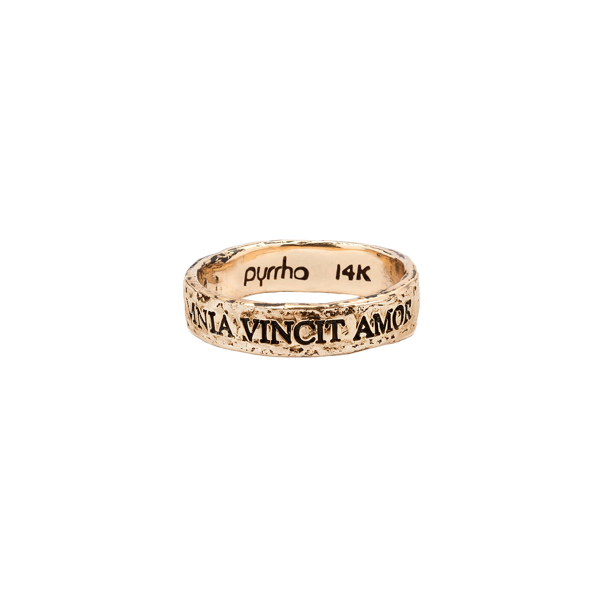Pyrrha 14k omnia vincit amor latin motto band ring