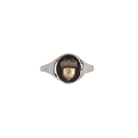 Acorn 14k Gold on Silver Symbol Signet Ring - Pyrrha  - 1