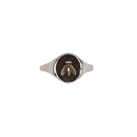 Bee 14k Gold on Silver Symbol Signet Ring - Pyrrha  - 1
