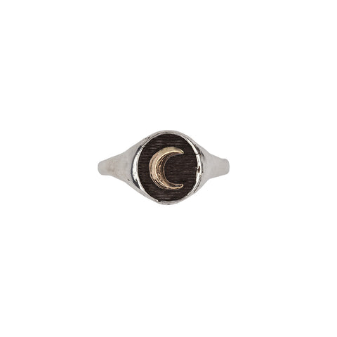 Crescent Moon 14k Gold on Silver Symbol Signet Ring - Pyrrha  - 1