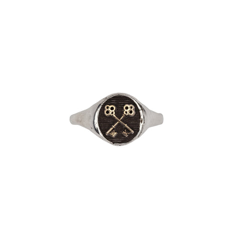 Crossed Keys 14k Gold on Silver Symbol Signet Ring - Pyrrha  - 1