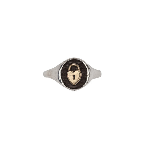 Heart Lock 14k Gold on Silver Symbol Signet Ring - Pyrrha  - 1
