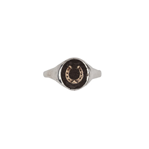 Horseshoe 14k Gold on Silver Symbol Signet Ring - Pyrrha  - 1