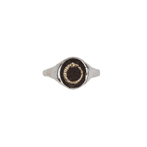 Ouroboros 14k Gold on Silver Symbol Signet Ring - Pyrrha  - 1
