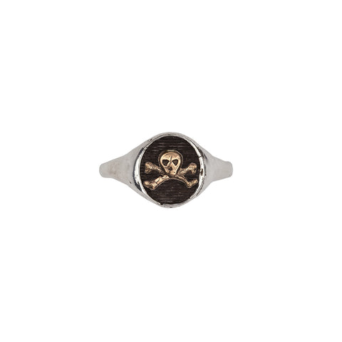 Skull & Crossbones 14k Gold on Silver Symbol Signet Ring - Pyrrha  - 1