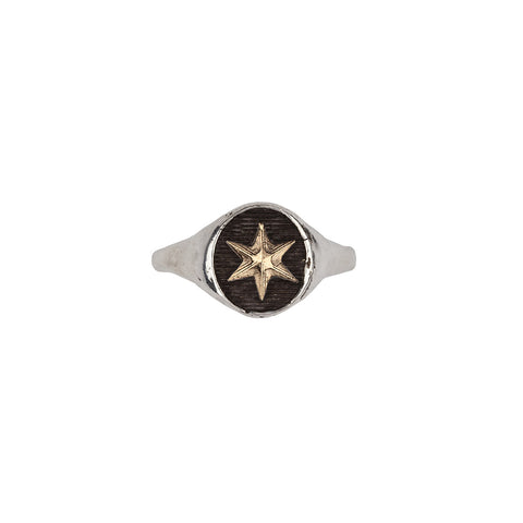 Star 14k Gold on Silver Symbol Signet Ring - Pyrrha  - 1