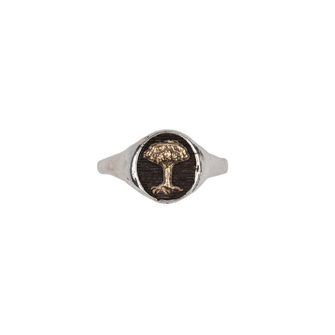 Tree 14k Gold on Silver Symbol Signet Ring - Pyrrha  - 1