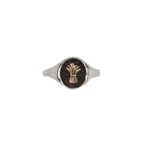 Wheat 14k Gold on Silver Symbol Signet Ring - Pyrrha  - 1