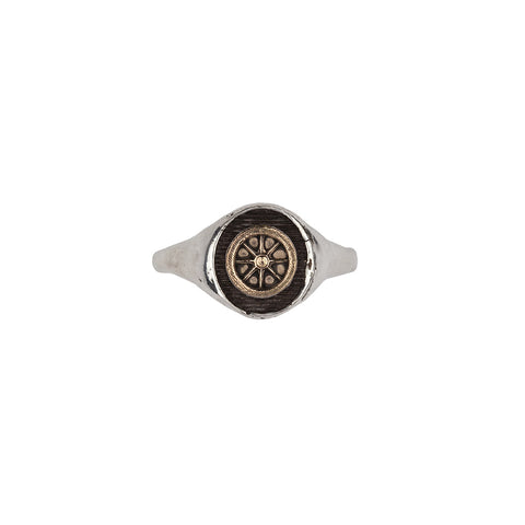 Wheel 14k Gold on Silver Symbol Signet Ring - Pyrrha  - 1
