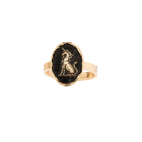 Power To Heal 14K Gold Flat Band Talisman Ring