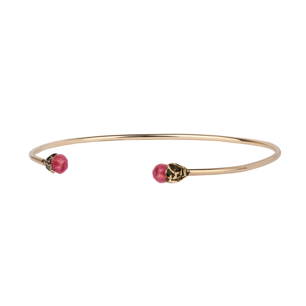 Ruby 14K Gold Capped Open Bangle