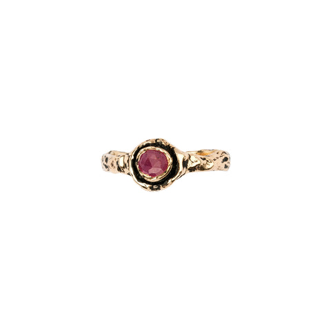 Narrow Ruby 14K Gold Faceted Stone Ring