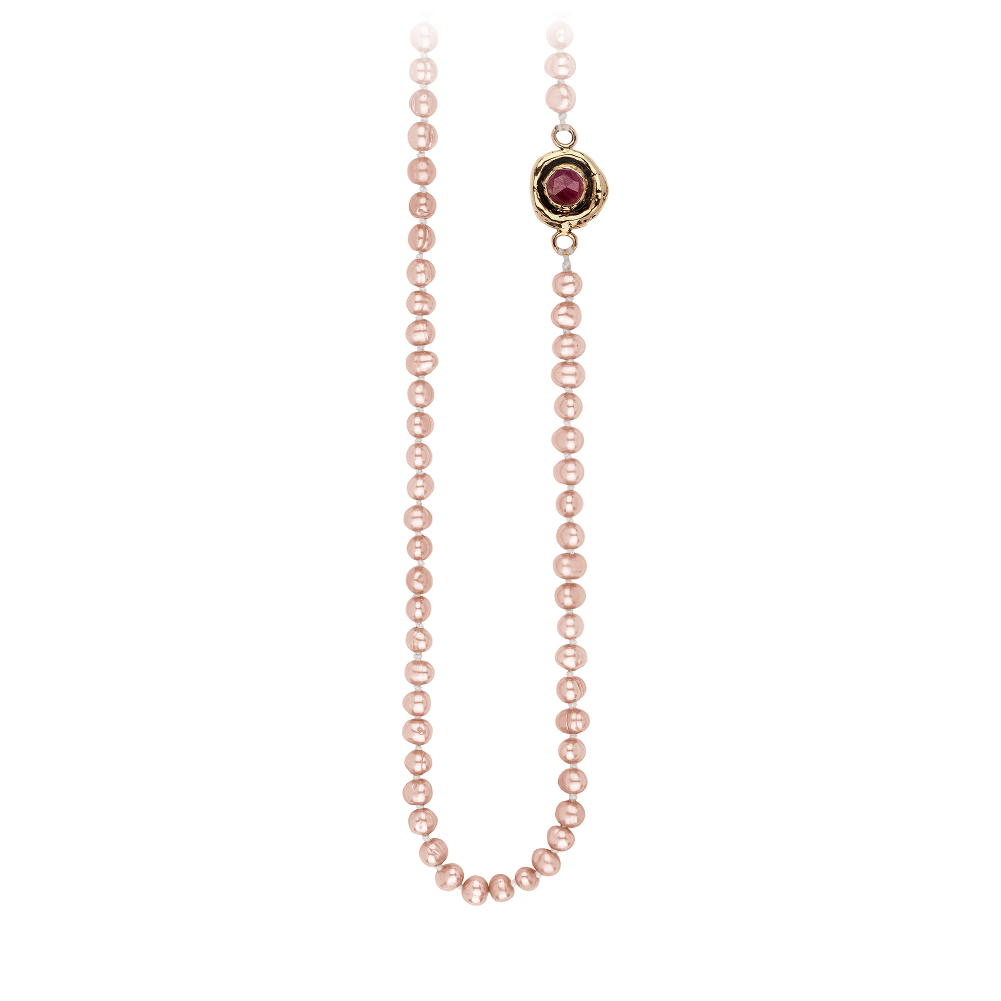 Pyrrha Ruby Faceted Stone Rose Pearl Necklace