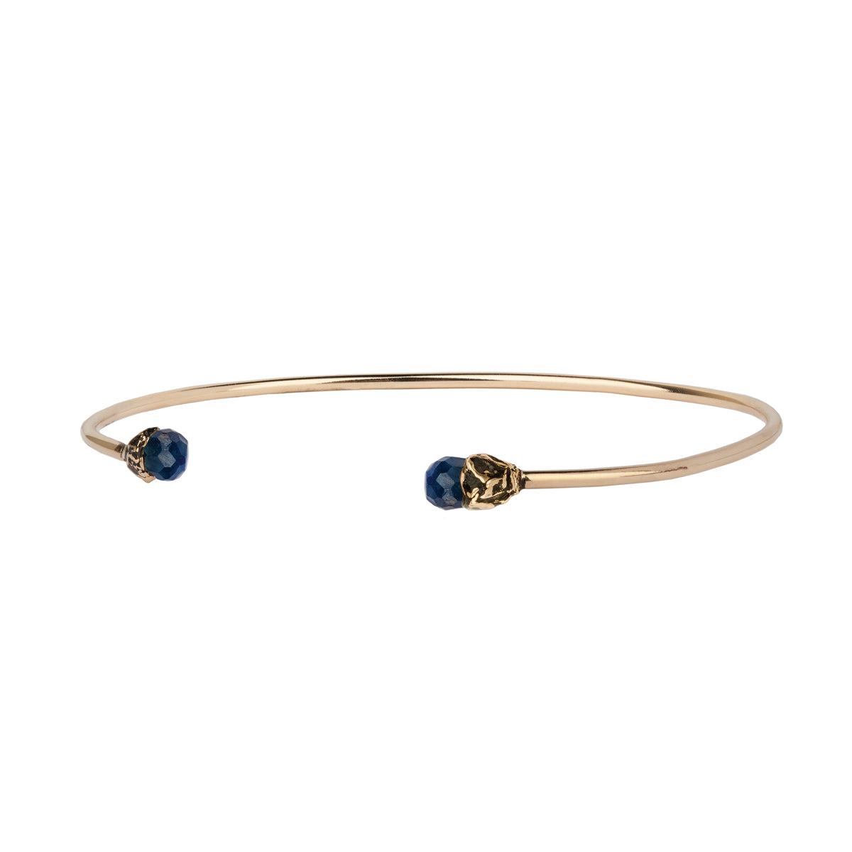 Sapphire 14K Gold Capped Open Bangle