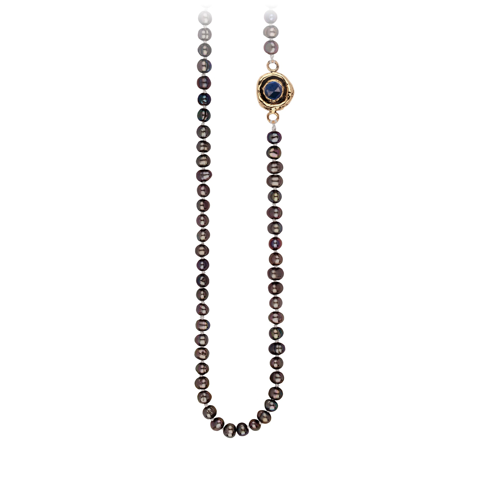 Pyrrha Sapphire Faceted Stone Peacock Black Pearl Necklace