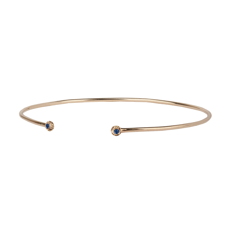 Stone Set 14K Gold Open Bangle