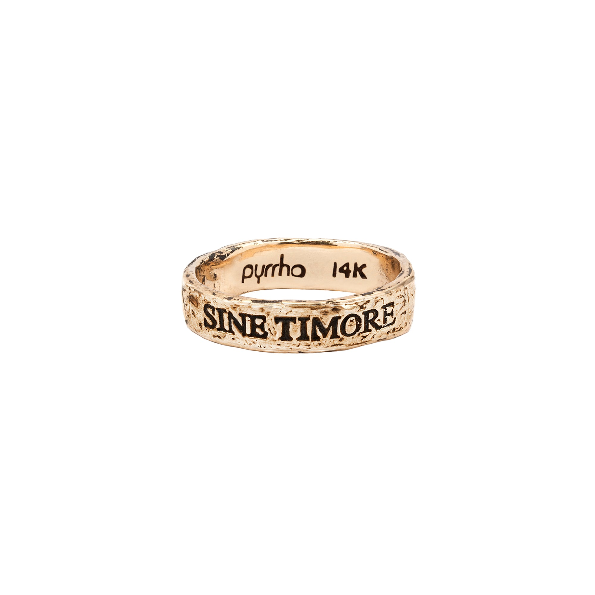 Pyrrha 14k sine Timor latin motto band ring