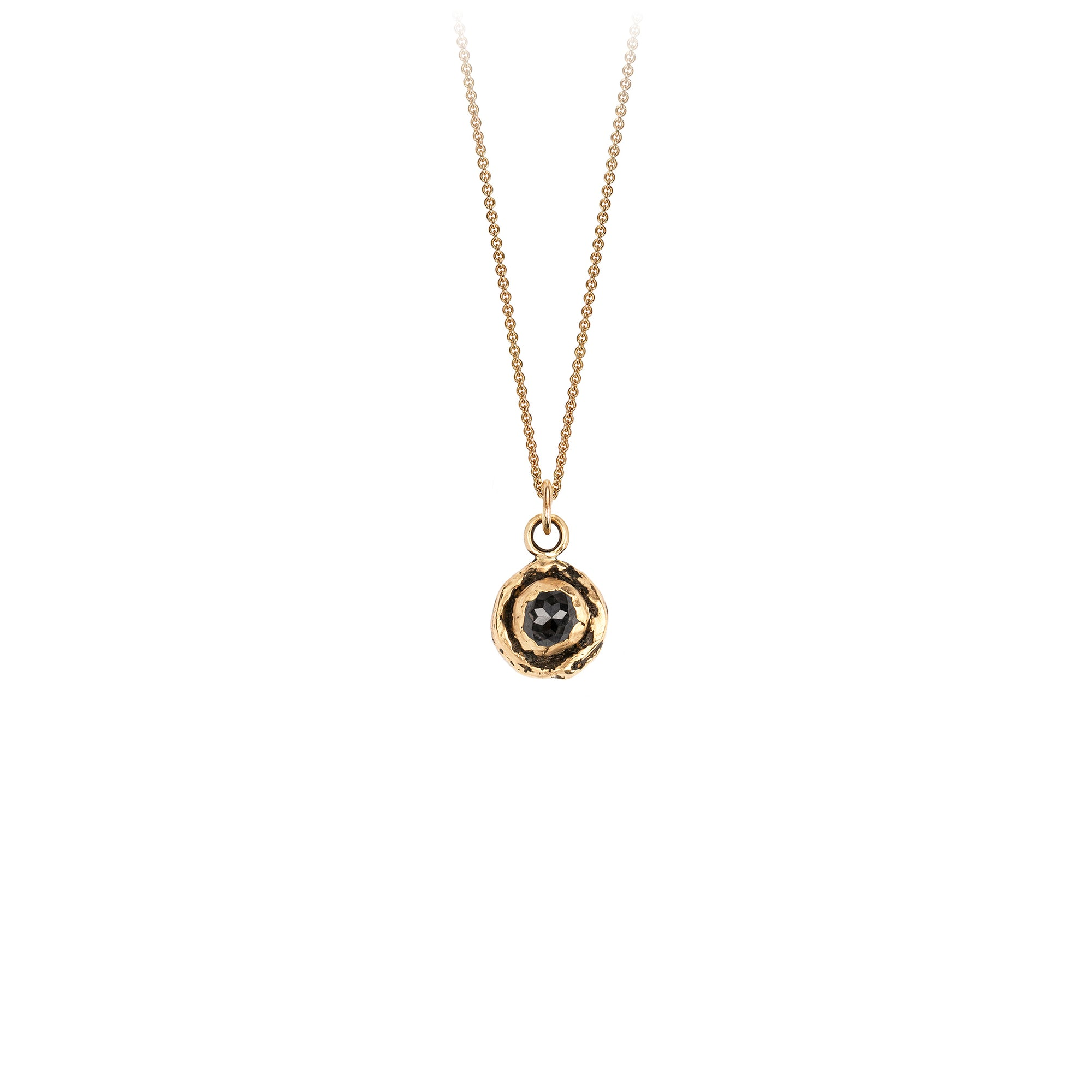 Pyrrha Small Charcoal Diamond 14K Gold Faceted Stone Necklace
