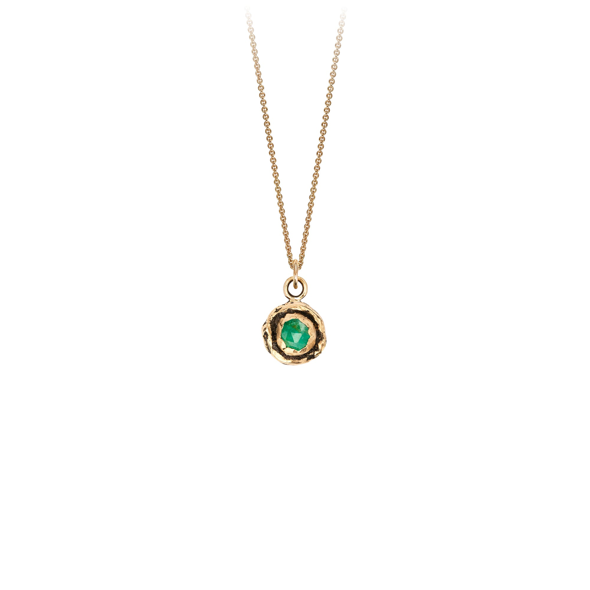 Pyrrha Small Emerald 14K Gold Faceted Stone Necklace