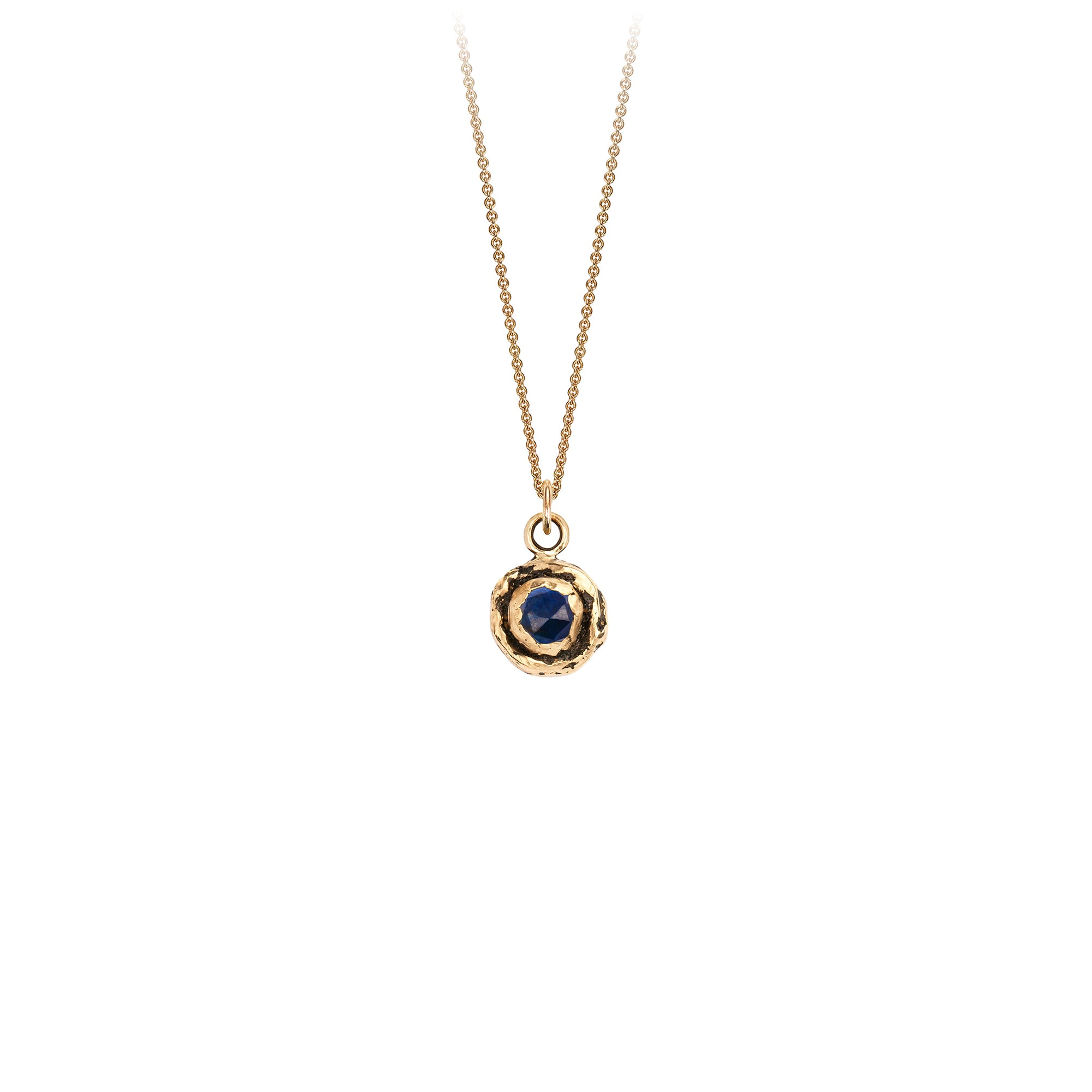Pyrrha Small Sapphire 14K Gold Faceted Stone Necklace