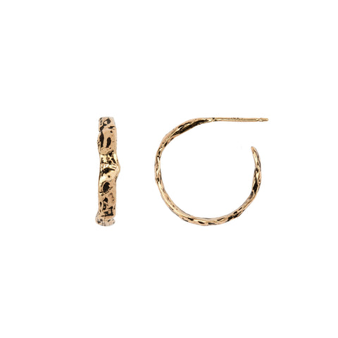Small 14K Gold Texture Hoops - pyrrha - 1
