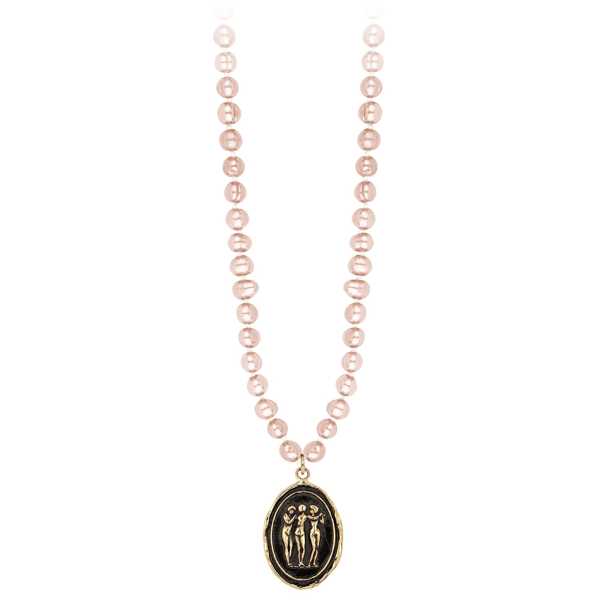 Pyrrha 14K Gold Three Graces Rose Freshwater Pearl Talisman Necklace