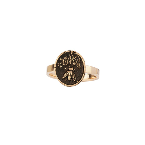 Tireless 14K Gold Flat Band Talisman Ring